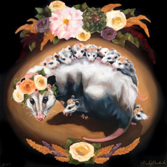 Opossum Mama | Oil on Panel by Darcy Goedecke